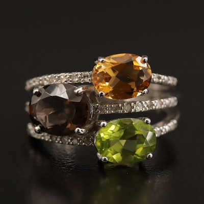 Sterling Ring with Citrine, Smoky Quartz, Peridot and Diamond