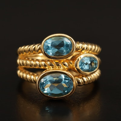 Sterling Silver Blue Topaz Cable Motif Ring