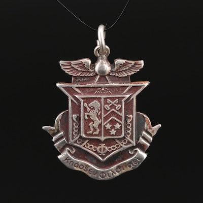 Vintage Sterling Delta Kappa Epsilon Fraternity Pendant