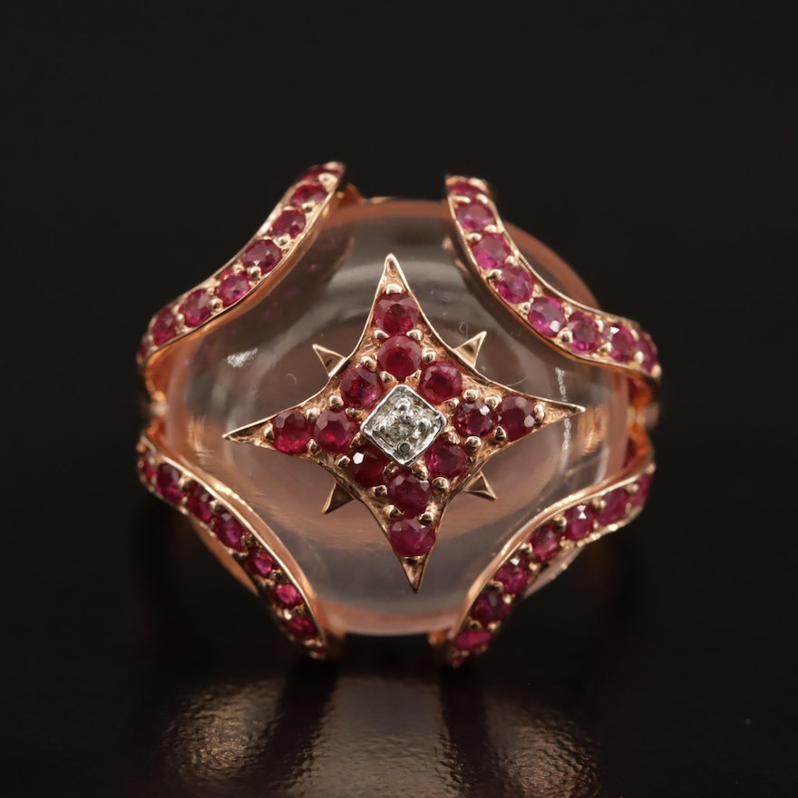 Sterling Silver Rose Quartz, Ruby, and Diamond Ring