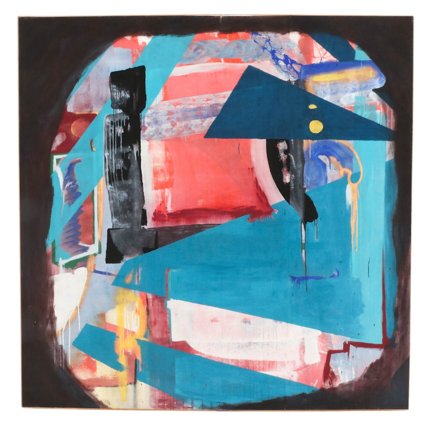 """Jeremy D. Stroud Monumental Acrylic Painting """"Triangular Space"""", 2015"""