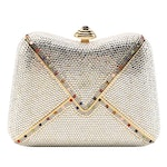 Judith Leiber Crystal Envelope Minaudière with Multicolored Polished Cabochons