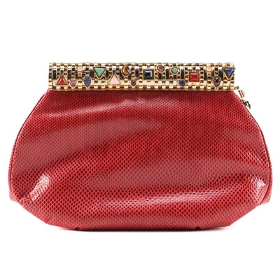 Judith Leiber Karung Skin Clutch with Multicolor Polished Stones and Accessories