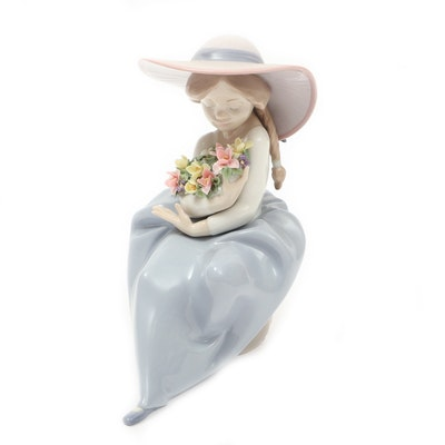 "Lladró ""Fragrant Bouquet"" Porcelain Figurine Designed by Antonio Ramos"