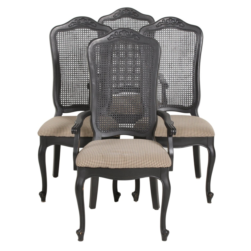 Louis XV Style Ebonized Wood and Cane Back Dining Chairs, Late 20th Century