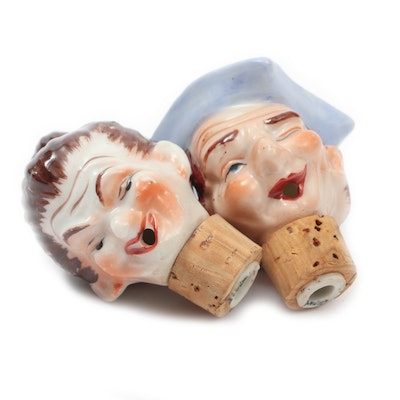 Japanese Porcelain Head Cork Stoppers, Mid-20th Century