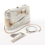 Judith Leiber Crystal Minaudière Evening Bag with Accessories