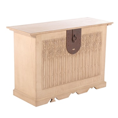 Contemporary Carved Wood Lift-Lid Blanket Chest