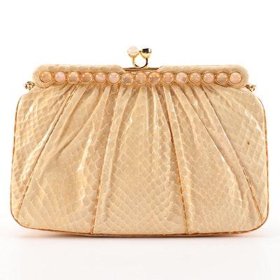 Judith Leiber Dyed Snakeskin Bag with Polished Stone Cabochons