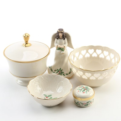Lenox Bone China Angel and Ivy Dish with Ring Box, Heart Bowl, Vase and Compote