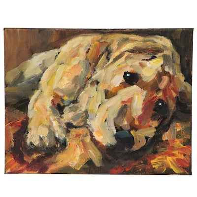 Elle Raines Acrylic Painting of Golden Pup