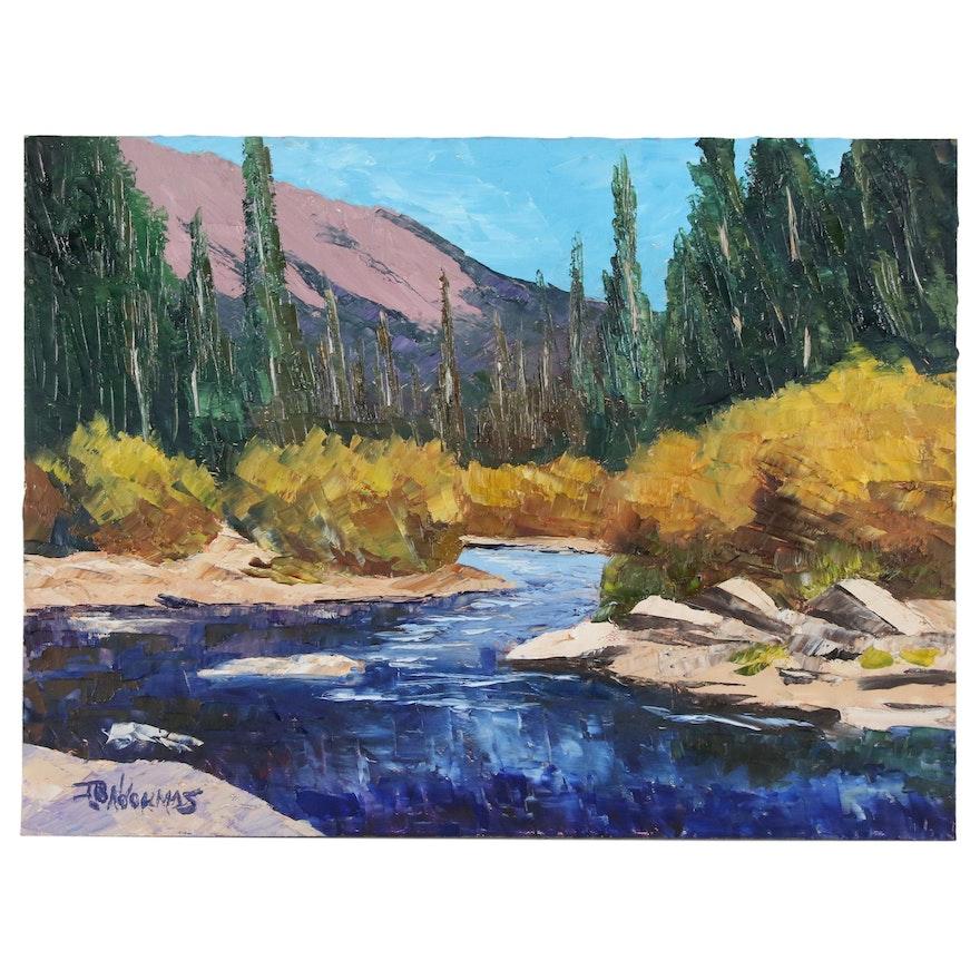 "James Baldoumas Oil Painting ""River View"", 2020"