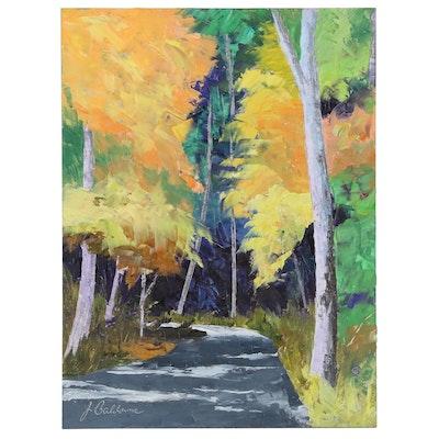"James Baldoumas Oil Painting ""Forest Path"", 2020"