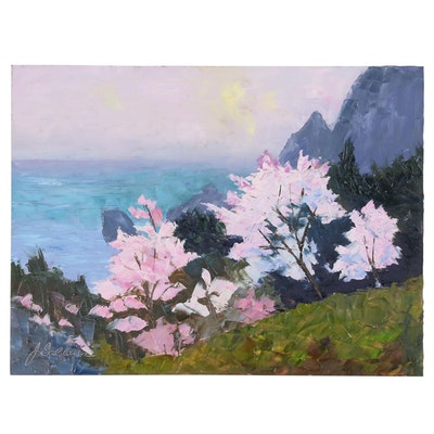 "James Baldoumas Oil Painting ""Sea Overlook"", 2020"