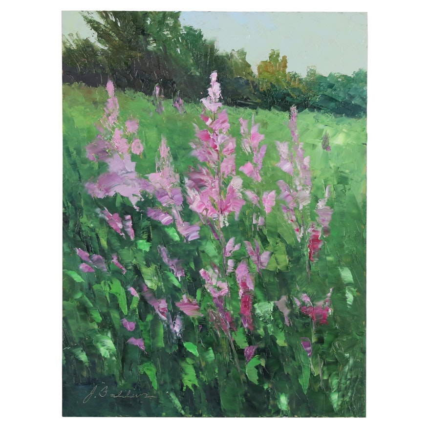"""James Baldoumas Oil Painting """"Wildflowers"""", 2020"""