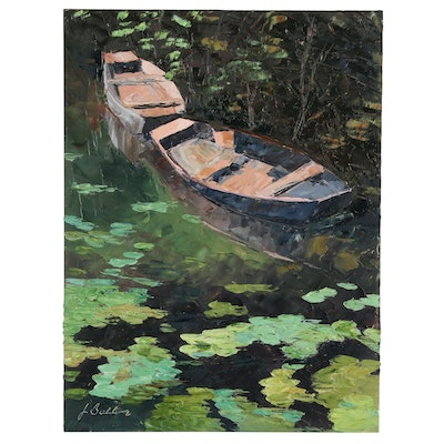 "James Baldoumas Oil Painting ""Boats & Pond"", 2020"