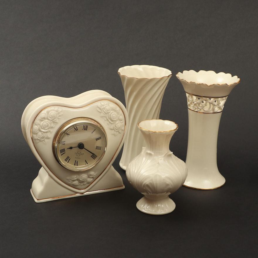 Lenox Porcelain Clock and Vases
