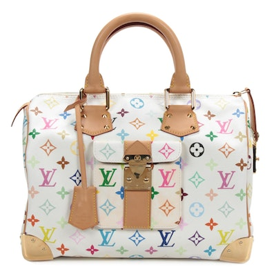 Louis Vuitton Speedy 30 Bag in Multicolore Coated Canvas and Vachetta Leather