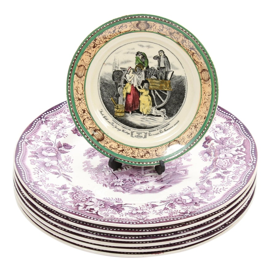 """Royal Staffordshire """"Tonquin"""" Dinner Plates and Adams Side Plate"""