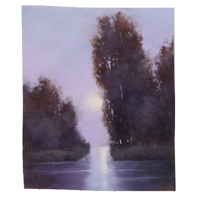 "SJ Studio Landscape Oil Painting ""Moonrise Reflections"""