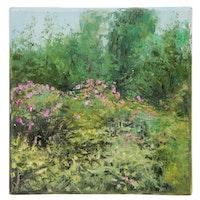 """Garncarek Aleksander Landscape Oil Painting """"In the Garden"""", 2020"""