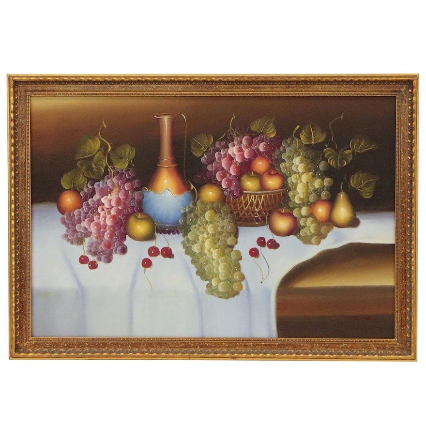 Fruit and Wine Still Life Oil Painting, Late 20th to 21st Century