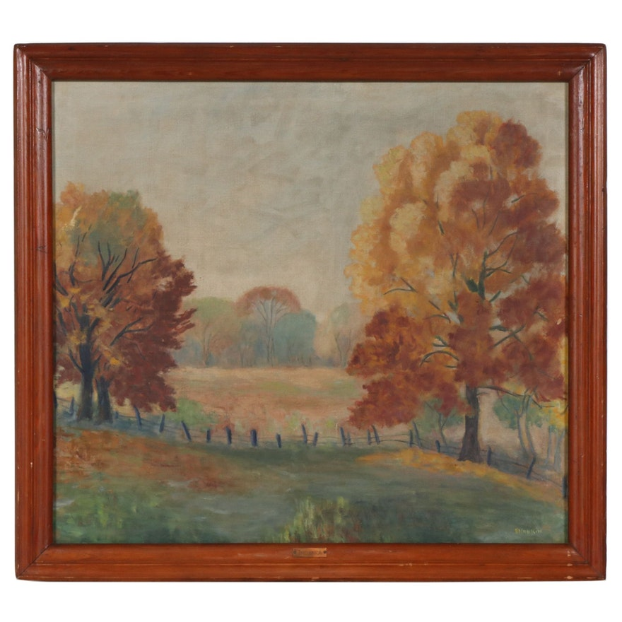 "E. Rankin Oil Painting ""Indiana"", Early to Mid 20th Century"