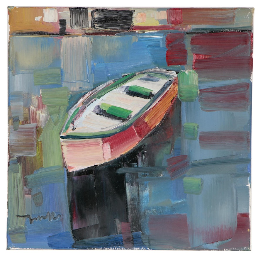"Jose Trujillo Oil Painting ""Boat Drifting On"", 2019"