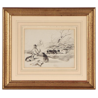 Ink Wash Sketch of Hunting Scene, Late 19th to Early 20th Century