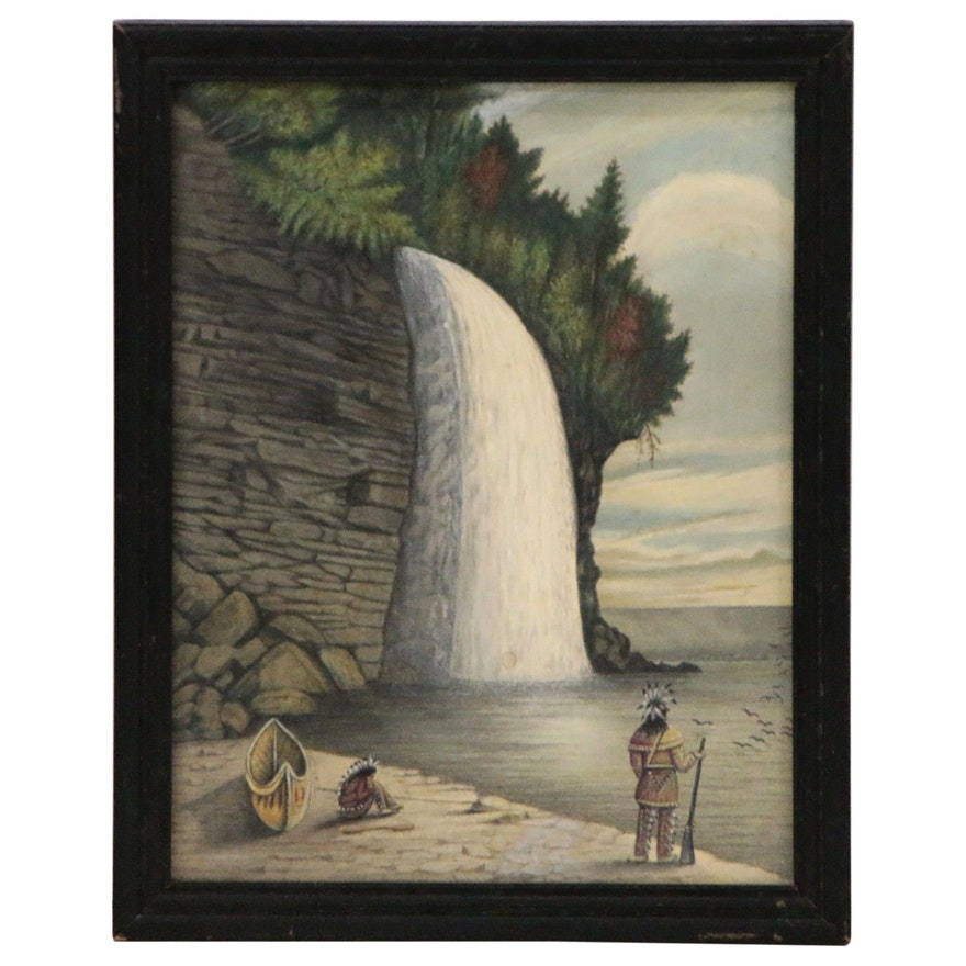 Naive Watercolor Painting of Native Americans Banked Near Waterfall