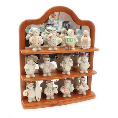"Lenox ""Twelve Months of Snowmen"" Bone China Figurines with Display Shelf"