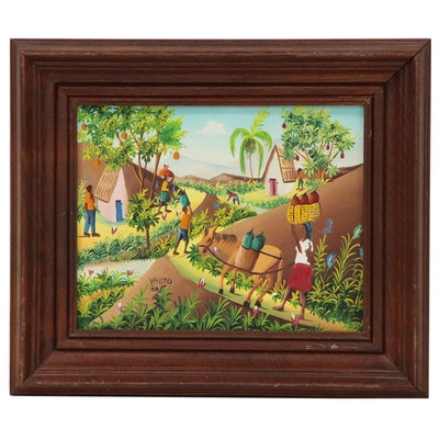 Charles Valito Haitian Folk Oil Painting of Figures in Tropical Village