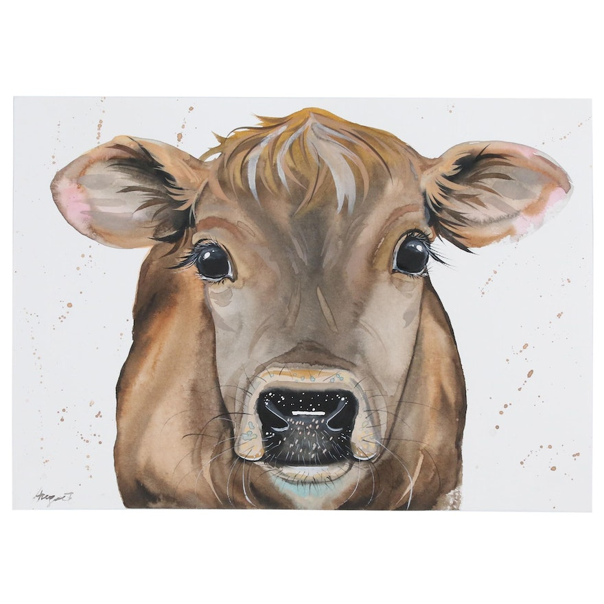 Anne Gorywine Watercolor of a Cow, 2020