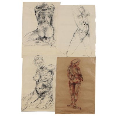 Esther Liu Charcoal and Conté Crayon Figure Drawings, Late 20th Century