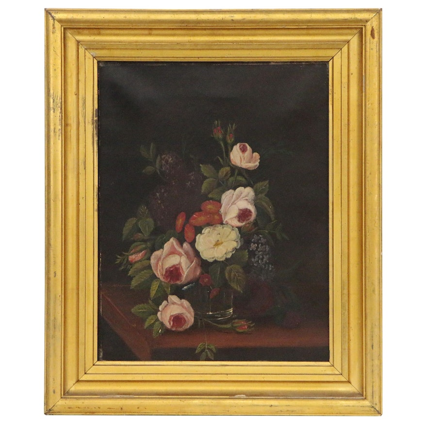 Floral Still Life Oil Painting, Mid 19th Century
