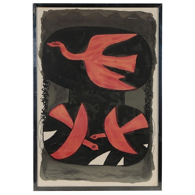 "Color Lithograph after Georges Braque ""Trois Oiseaux Rouges"", 1960"