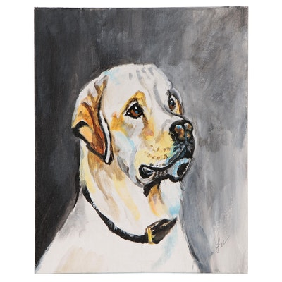 "C.J. Lee Acrylic Painting ""Yellow Lab"", 2015"
