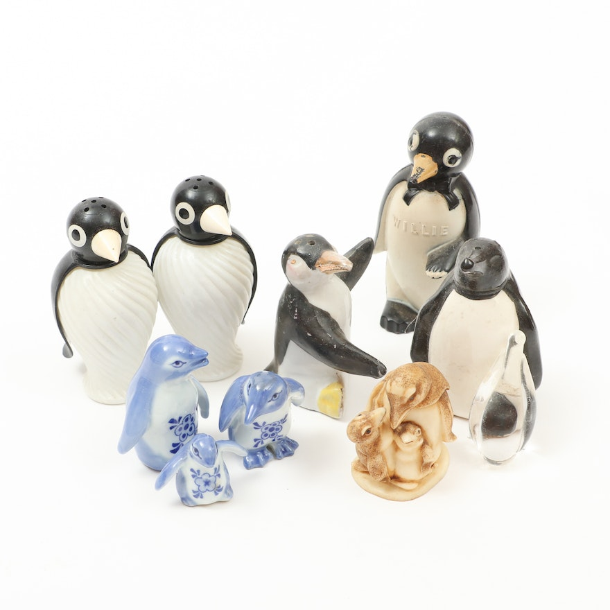 Penguin Salt and Pepper Shakers with Figurines