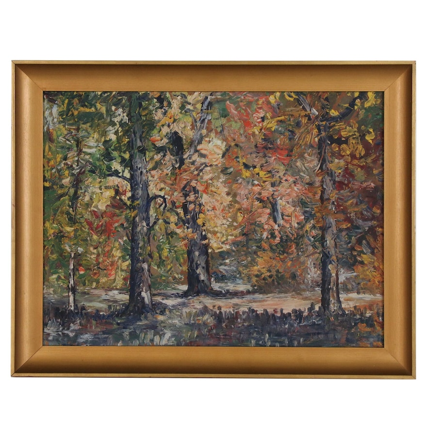 Impressionist Style Impasto Oil Painting Wooded Landscape, Mid 20th Century