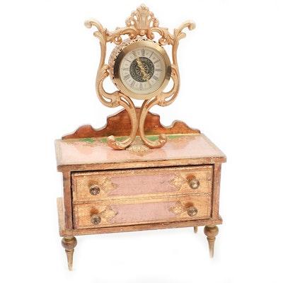Florentine Style Dresser Jewelry Box Clock, Mid-20th Century