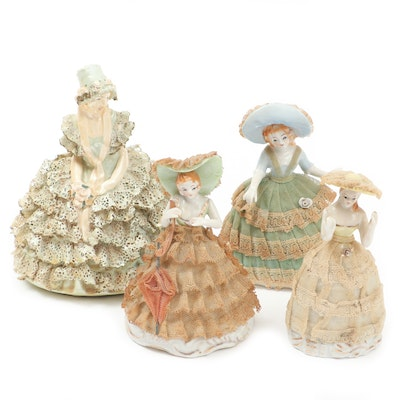Porcelain Dresden Lace Figurines, Early to Mid 20th Century