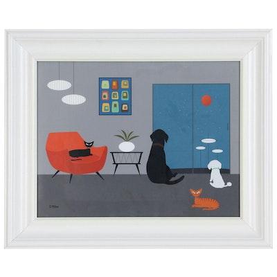 Giclée after Donna Mibus Mid Century Modern Style Interior Scene