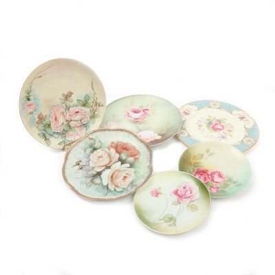 "Myott ""Staffordshire Rose"" and Other Hand-Painted Porcelain Plates"