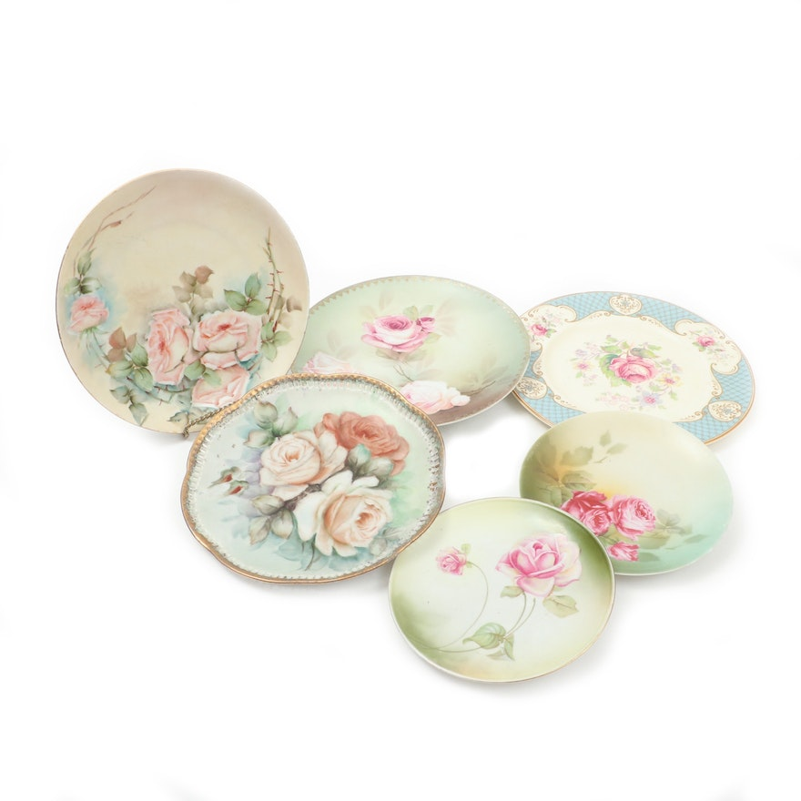 """Myott """"Staffordshire Rose"""" and Other Hand-Painted Porcelain Plates"""