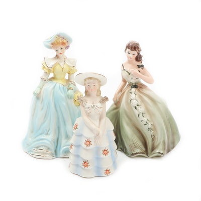 Porcelain Planters in the Form of Ladies, Mid to Late 20th Century