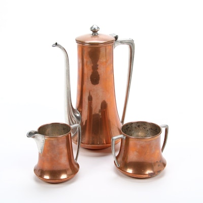 Viking Copper Coffee Pot with Creamer and Sugar Bowl