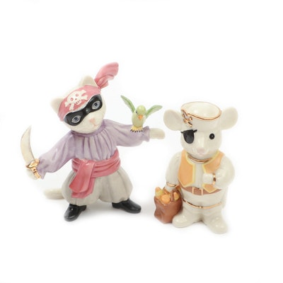"""Lenox Porcelain """"Itty Bitty Buccaneer"""" Pirate Cat and Mouse Figurines"""