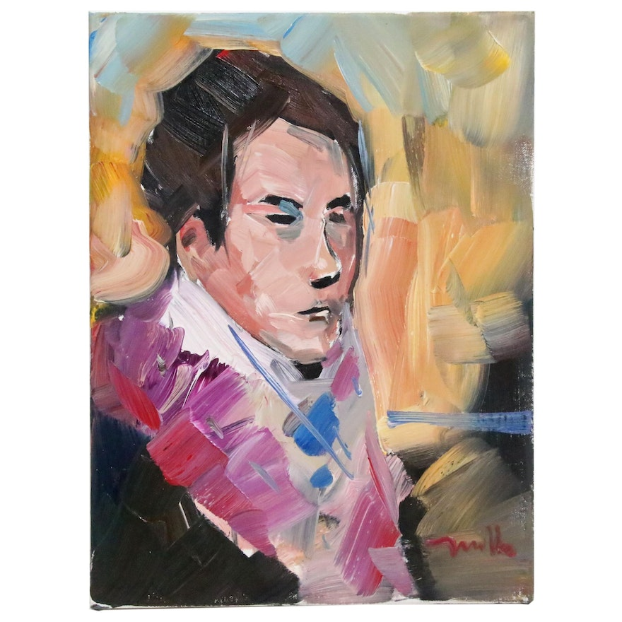 "Jose Trujillo Oil Painting ""Pink Lapel"", 2019"
