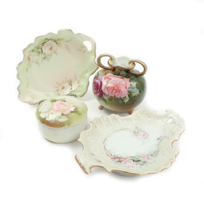 German and Austrian Porcelain Trinket Box, Dishes, and Vase