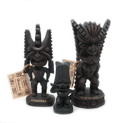 Hawaiian Carved Wood Tiki God Figurines